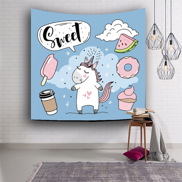 Childrenu0027s Room Decoration Cartoon Unicorn Tapestry Wall Hanging Hippie  Tapestry Creative Tapestry Child Bed Sheets #