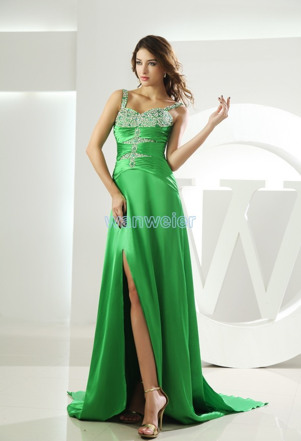 free shipping long   prom     dresses   2016 new beading vestidos formales mint green custom spaghetti strap sexy high side slit