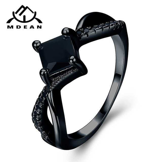 MDEAN Black Gold Color Rings for Women Engagement Wedding Black AAA Zircon Jewel