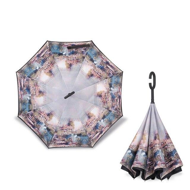 Parapluie inversé à tige longue | Parapluie pliant, Double couche, coupe-vent, crochet C inversé, parapluie de golf masculin, parapluies arrière pour voiture, 2018