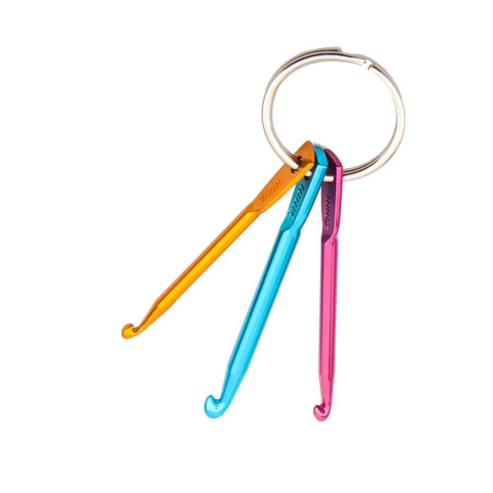 3 kích thước trong 1 bộ Xách Tay Multicolor Thủ Công Mỹ Nghệ Knitting Needles Crochet Hook Nhôm Keychain Kim Loại Móc Dệt May Cross Stitch