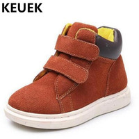 Spring Autumn Fashion High Children Shoes Boys Girls Genuine Leather Sneakers Student Baby Breathable Single Shoes