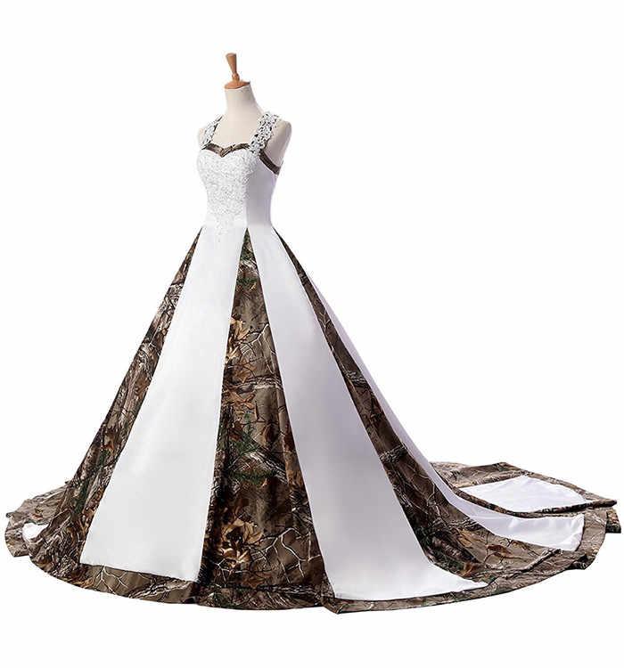 לבן הסוואה כדור שמלת חתונת שמלות 2019 מכירה לוהטת תחרה אפליקציות חרוזים Camo חתונה שמלת כלה שמלות תמונה אמיתית