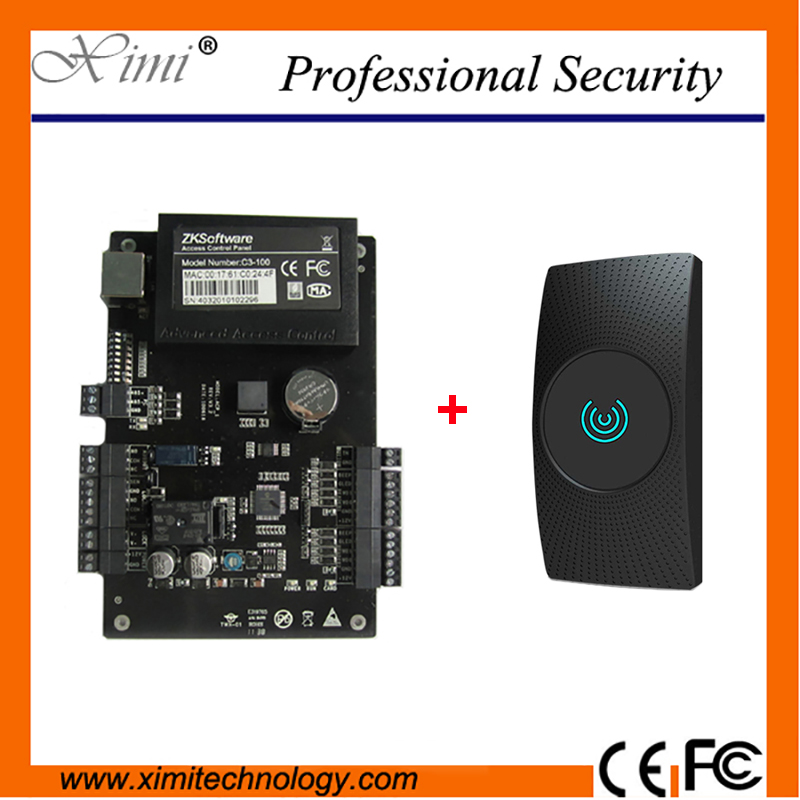 Linux System TCP/IP ZK C3-100 One Door Access Controller With WG26 RFID Card Reader Professional Door Access Control System