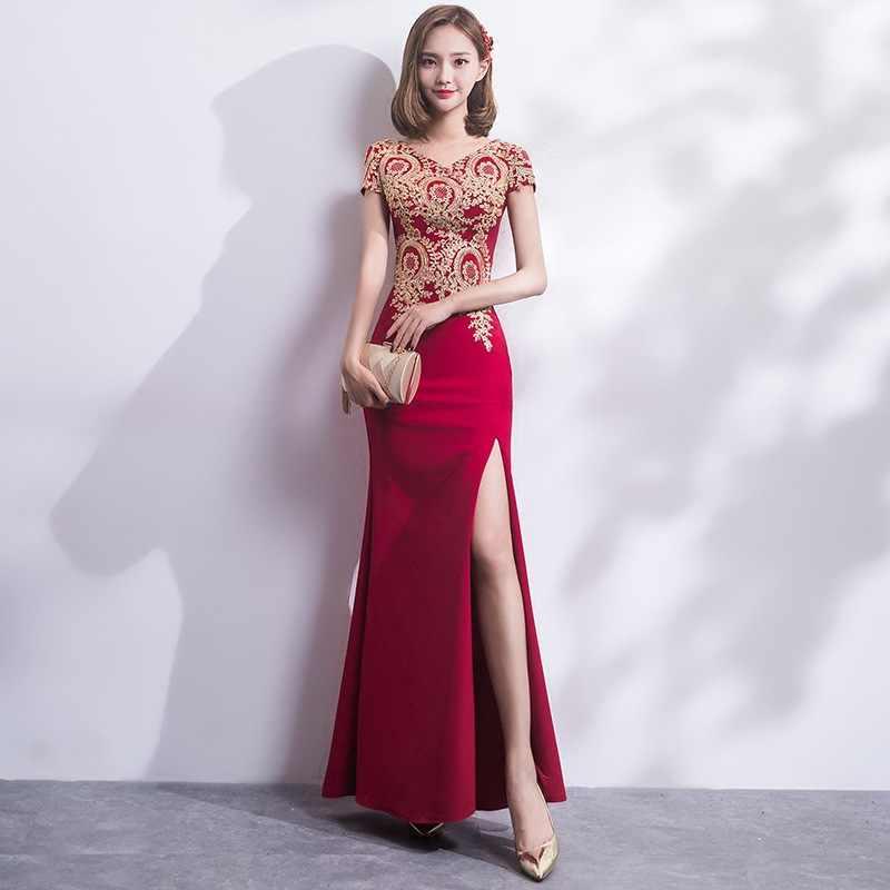 2018 刺繍のチャイナロング伝統的な中国のヴィンテージドレスレッドマーメイドウェディングドレスセクシーなスプリット袍ドレス現代