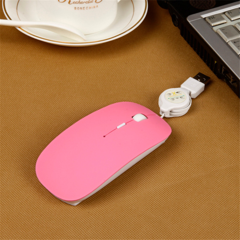 BinFul Protable Wired Optical USB Scroll Mouse Retractable Cable 2400DPI Mice For Travel Laptop PC Computer Notebook 4 colors