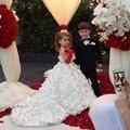 2017 Marfim Vestidos Da Menina de Flor Para Casamentos Pavimento Length Tulle Bonito Vestido de Primeira Comunhão Para Meninas Criança Vestidos de Baile AG5
