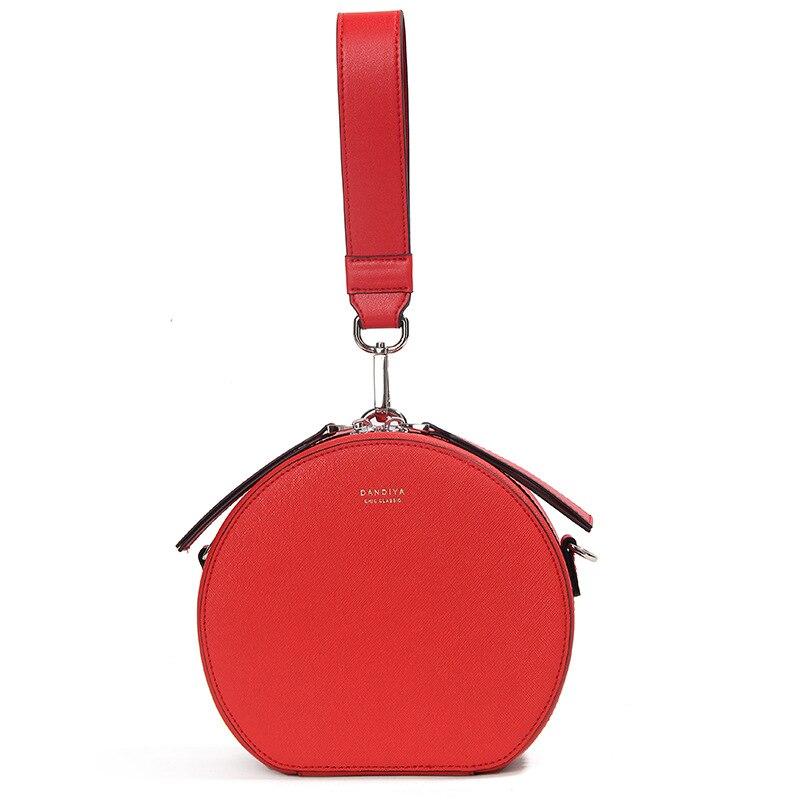 Bolsos de mano de diseñador famoso bolso redondo de cuero genuino para mujer pequeños bolsos de bandolera para noche de fiesta para mujer bolso de mano Feminina - 3