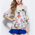 M-XXXXL 2016 Women Shirts Blouses Chiffon Flower Cat Print Woman Shirt Tops Summer Beautiful Girl Office Lady Shirt Free Ship