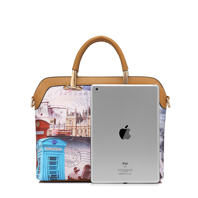 REALER brand 3 pcs printed handbag female composite bag large capacity artificial leather tote bag+small shoulder bag+coin purse