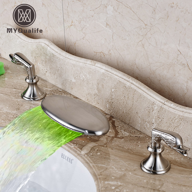 Deck Mounted Waterfall Spout with LED Color Changing Basin Sink Faucet Dual Handles Widespread Mixers Taps