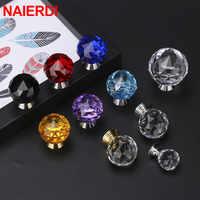 NAIERDI 30mm Round Diamond Crystal Glass Knobs Cupboard Pulls Colorful Drawer Knobs Kitchen Cabinet Handles Furniture Handle