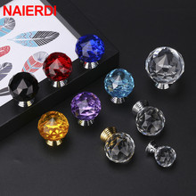 NAIERDI 30mm Round Diamond Crystal Glass Knobs Cupboard Pulls Colorful Drawer Kitchen Cabinet Handles Furniture Handle