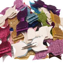 50 pcs 스팽글 파우더 보우 패션 액세서리 bowknot allitagor 클립 귀여운 자용 반짝이 세련된 헤어 액세서리 부티크 hairbow