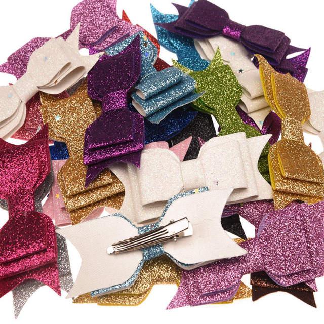50pcs Sequin Powder Bow Fashion Accessory Bowknot Allitagor Clip Cute Barrette Glitter Chic Hair Accessory Boutique Hairbow