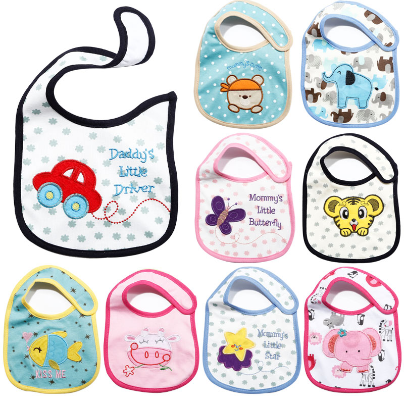 Cute Baby Kids Waterproof Bibs Boys Girls Cotton Cartoon Burp Cloth Children Saliva Towels Infant Newborn Kawaii Feeding Wears