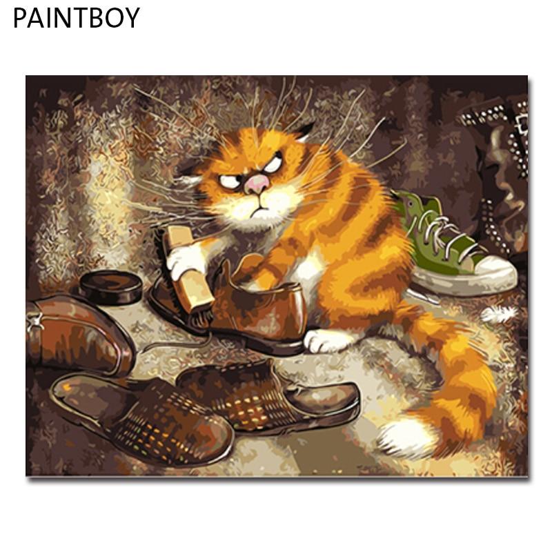 PAINTBOY Gerahmte Bilder Malen Nach Zahlen von Tier Handarbeit Ölgemälde auf Leinwand Wohnkultur Für Wohnzimmer GX3221