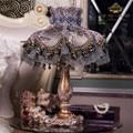 Высококачественная европейская роскошная фиолетовая настольная лампа из смолы  прикроватная лампа для гостиной  французское кружевное ук...
