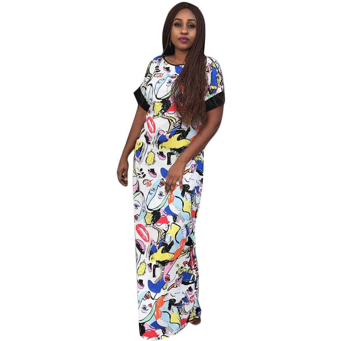 Women O Neck Sexy Character Print Dress Short Sleeve Bodycon Vintage Dress Summer Long Party Dress 2018 Vestidos