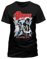Tailored Shirts Crew Neck Men David Bowie 1972 World Tour Short Sleeve Top T Shirt