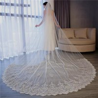 2019 New 3M Wedding Veils Cathedral Length With Comb White Ivory Lace Appliqued Tulle Bridal Veil Custom Made