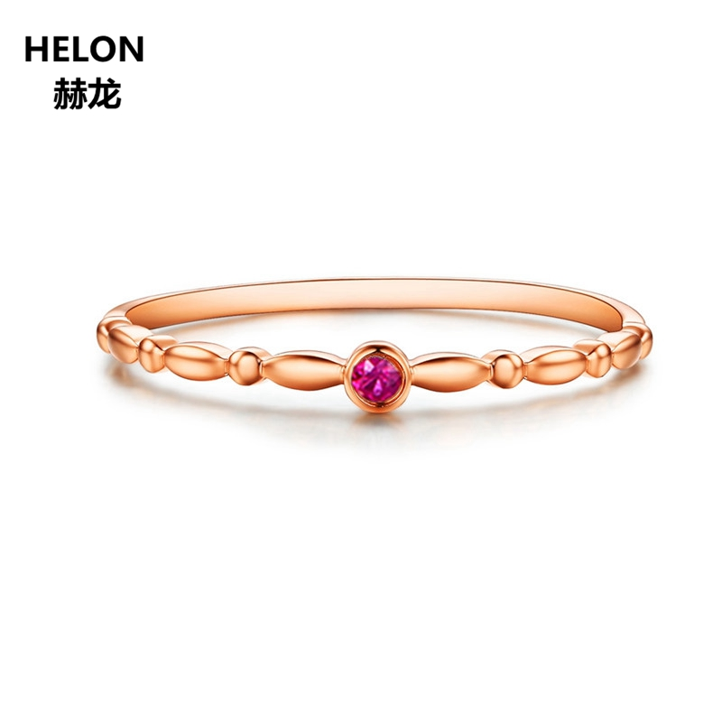Solid 14k Rose Gold Natural Ruby Engagement Wedding Ring Anniversary Fine Jewelry Women Trendy solid 14k rose gold 100