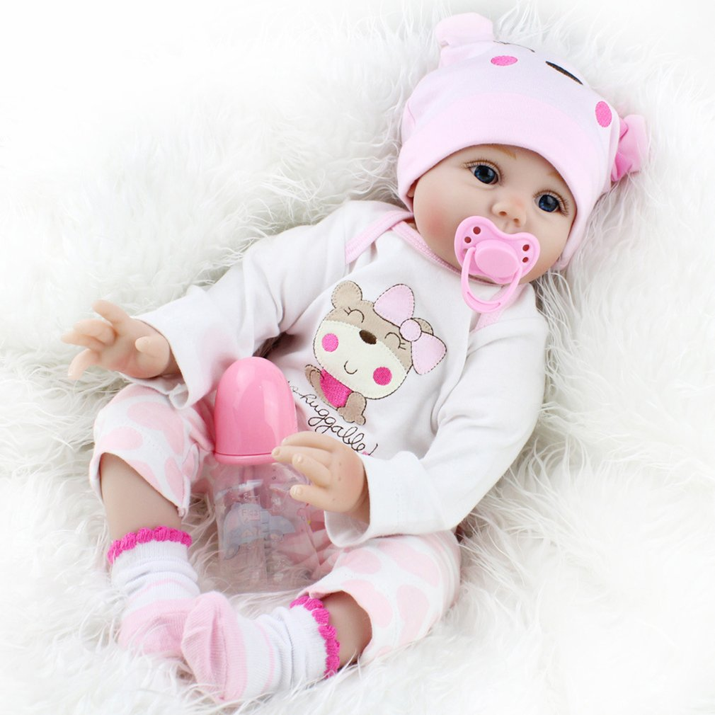 55CM Cute Baby Reborn Doll Soft Lifelike Girls Newborn Doll Toy Birthday Gifts For Girls Child Bedtime Early Educational Toys silicone reborn baby doll toys for girls birthday christmas gifts 55cm lifelike boy baby reborn dolls kids child toy