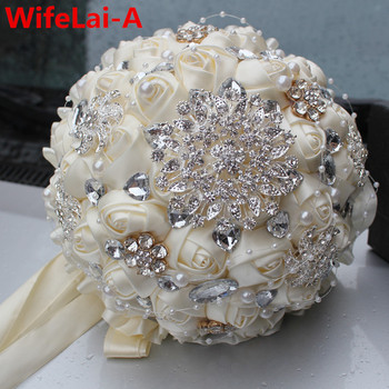 Best Selling Ivory Cream Brooch Bouquet Wedding Bouquet de mariage Polyester Wedding Bouquets Pearl Flowers buque de noiva PL001
