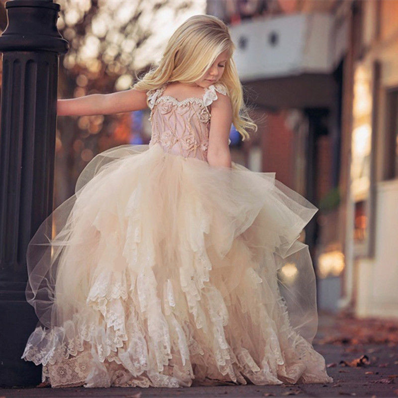 Pink Vintage Ball Gown Flower Girl Dresses For Weddings Mint Lace Pearls Toddler Pageant Dresses First Communion Dress 2017 lovely pink ball gown short flower girl dresses 2018 beaded pearls first communion dresses for girls pageant dress