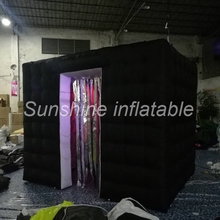 New style 3x2.1x2.4m wonderful black wedding LED Lighting inflatable photo booth with tassels cabinet for sale