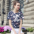 New Arrival Fashion Women Shirt Summer Style Women Floral Letter Printed Top Tees O Neck Short Sleeve Casual Loose T Shirt