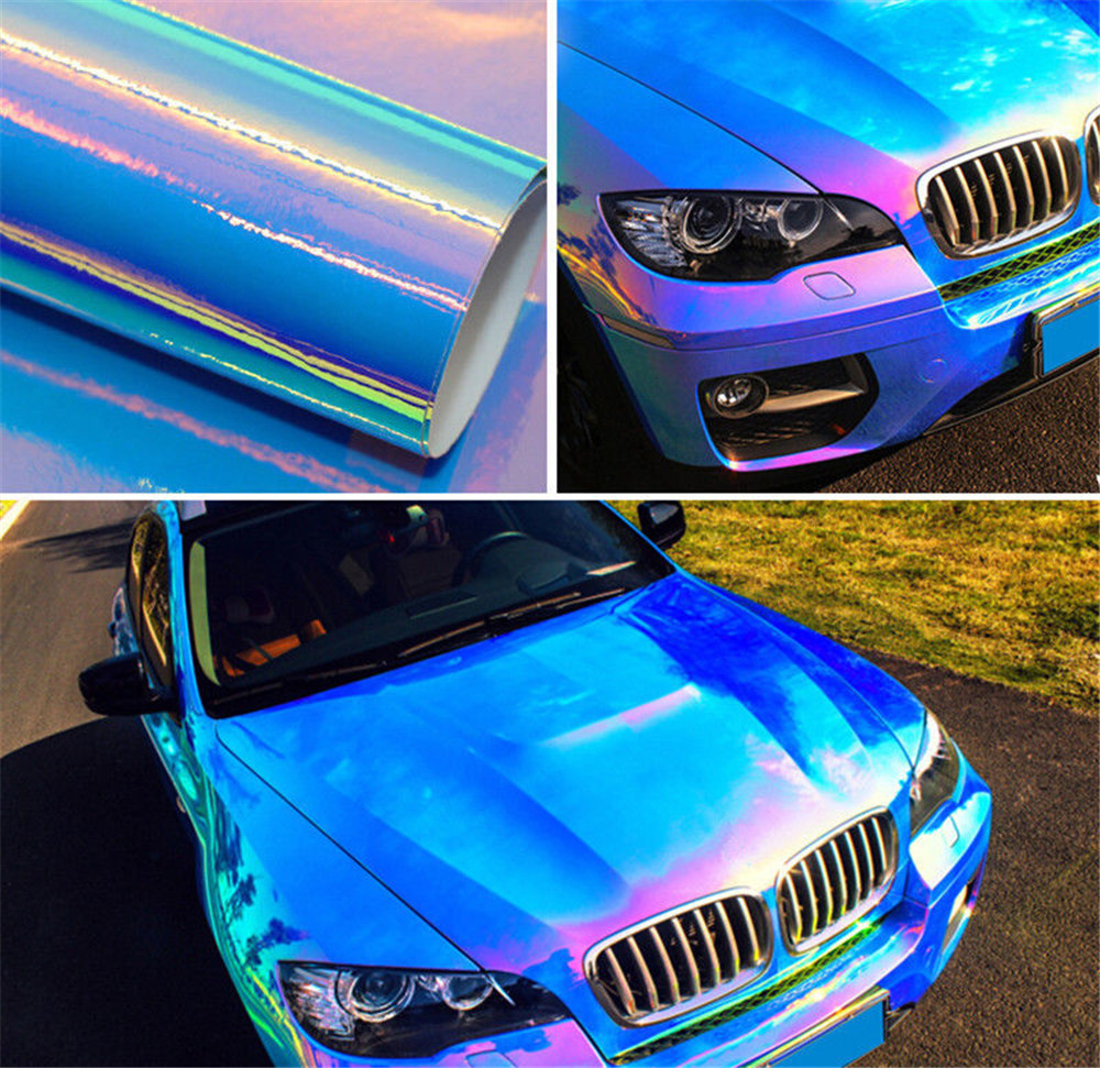 Holographic Blue Rainbow Neo Chrome Chameleon Vinyl Wrap Air Bubble Free Film 54.3''x40'' 2m 18mx152cm glossy matte chameleon pearl glitter vinyl sticker purple blue chameleon automobiles car wrap diamond vinyl film