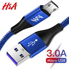 H&A 3A Micro USB Cable 1m 2m Fast Charging Nylon USB Sync Data Mobile Phone Android Adapter Charger Cable for Samsung Cable(China)