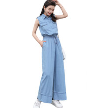 ccfc62381a6 Women Denim Jumpsuits Female Sleeveless Jeans Rompers Wide Leg Trousers  Ankle-Length Pants Elastic Waist Casual Overalls CM272
