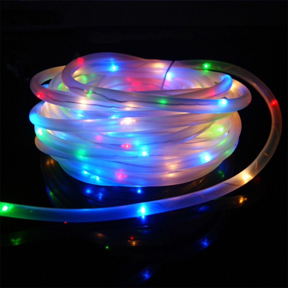 Top Quality 7M 50 LED Solar Rope Tube Led String Strip Fairy Light <font><b>Outdoor</b></font> Garden Party Decor Waterproof RGB