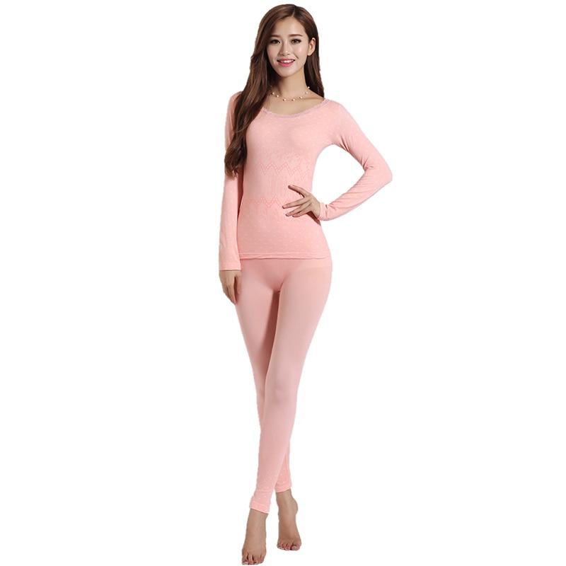 LANBAOSI 2019 Sexy Ladies Thermal Underwears Seamless Antibacterial Warm Long Johns Women Body Shaped Underwear Sets