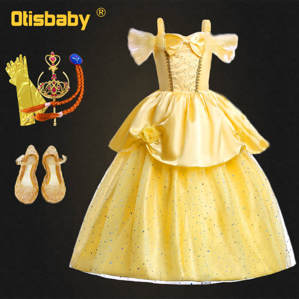 2019 Girls Belle Dress Up Fantasy Yellow Fairy Dress Up Shoulderless Fancy Girls Carnival Beauty And The Beast Princess Costume