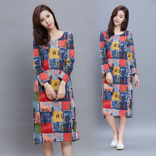 2017 New Autumn Women Dresses Chinese Style Flower Printed Fake Women Dress Elegant Long Dress Plus