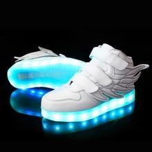 Retail 25 37 Size USB charging basket Led kids shoes with lights kids Transparent Boys Girls