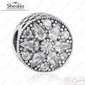 Original 925-Sterling-Silver Cubic Zirconia Pave Radiant Flower Bloom Christmas Charms Beads Fits Pandora Bracelets 2016 Winter