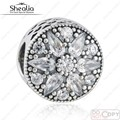 Original 925-Sterling-Silver Cubic Zirconia Pave Radiante Flor Da Flor Do Natal Encantos Beads Serve Pulseiras Pandora 2016 Inverno