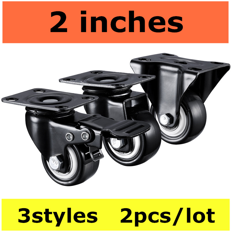 2pcs 2 inches 50mm Bearing Capacity 100kg Black Trolley Wheels Caster Rubber Swivel Casters for Office Chair Sofa Platform