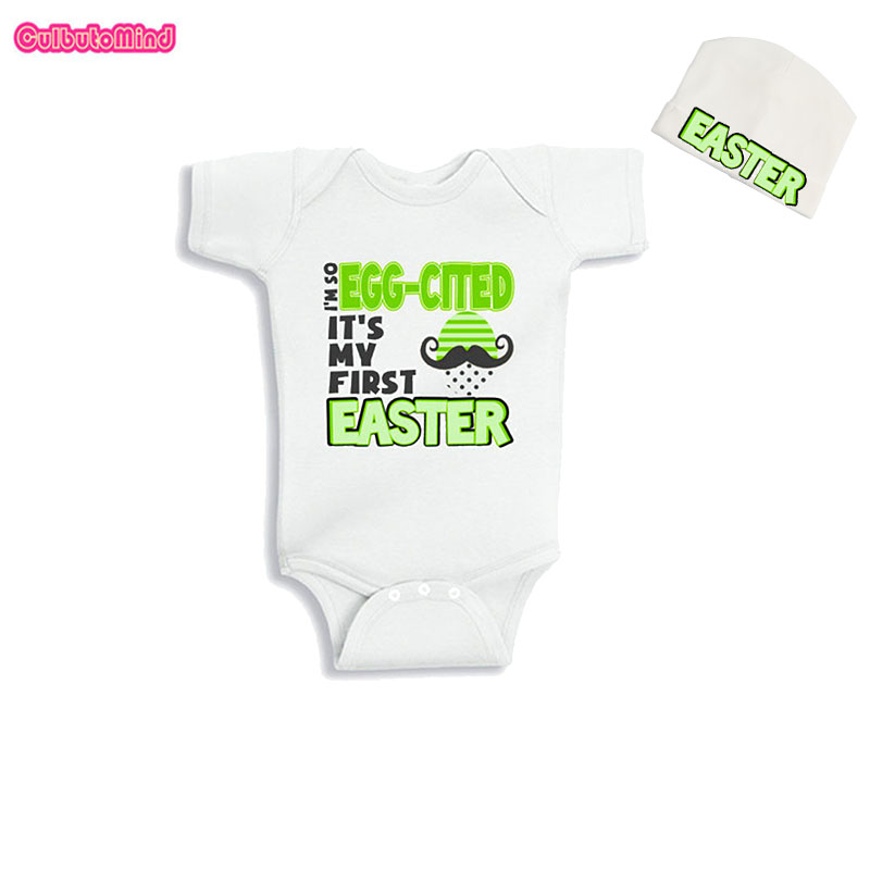 Culbutomind Im So Egg-Cited Its My First Easter Babies Infant Baby Body Suit with Cap Summer Baby Juumpsuit Baby Playsuit ...