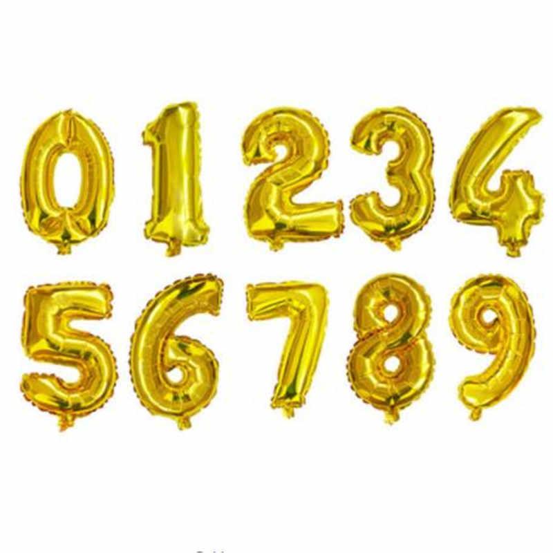 16 pulgadas de 1 unids/lote Feliz Año Nuevo de globo número 0 1 2 3 4 5 6 7 8 9 suministro de Globos de Oro azul rosa para fiesta de cumpleaños para niño y niña