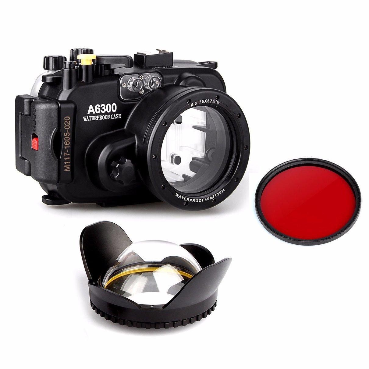 Meikon 130ft Underwater Camera Housing Case for sony A6300 Camera + Wide Angle Dome Port lens + 67mm red filter meikon 40m 130ft waterproof underwater camera housing case for a6300 dome port lens