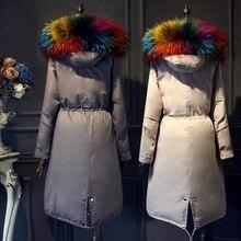 Plus size Down coat 2017 Winter Jacket women Down jackets Women's coat long design large fur Hooded thicken Outerwear parka
