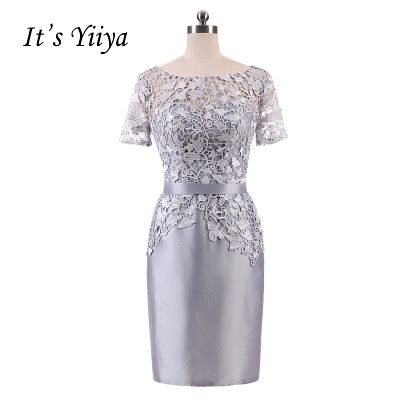 It's YiiYa Gray Illusion Flowers Short Sleeves Lace Zipper Straight Cocktail Dresses Knee Length Formal Dress Party Gown 7552