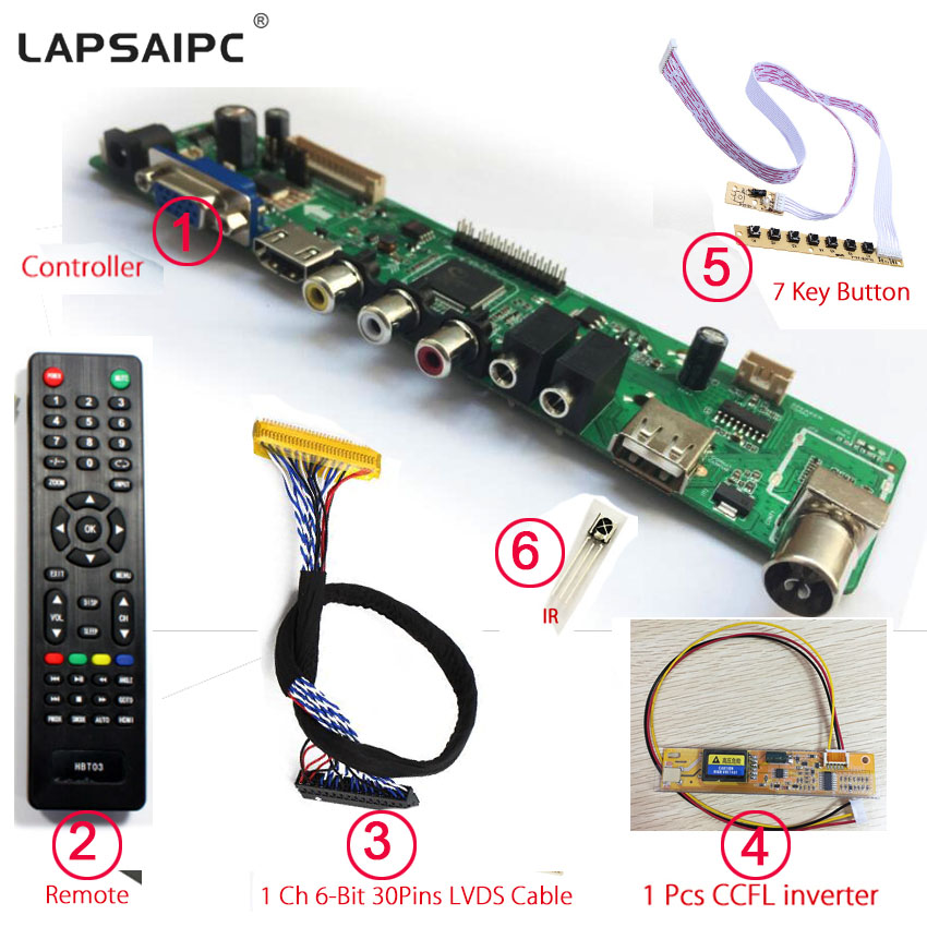 Lapsaipc V56 Universal LED TV Controller Driver Board Support 1920*1080 7inch-55inch LVDS panel instead V29 control board