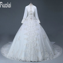 Ruolai Custom Made Heavy Ball Gown Muslim Wedding Dress