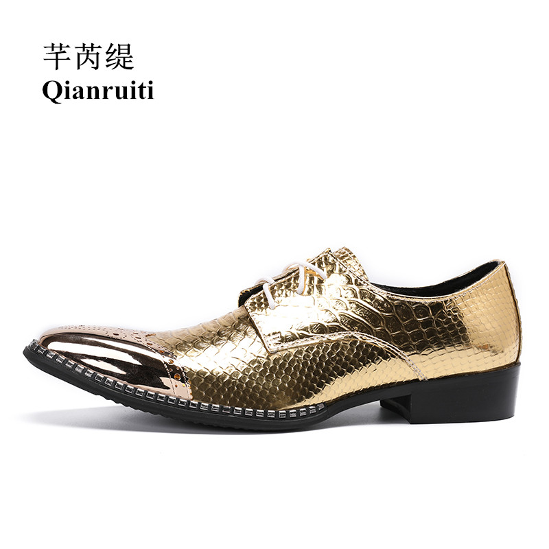 Qianruiti Men Alligator Gold Loafers Metal Toe Business Wedding Oxfords High Quality Lace-up Slippers Men Dress Shoe EU39-EU46
